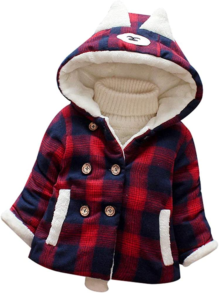 Happy childhood Baby Boys Girls Plaid Hoodie Winter Jacket Fleece Thicken Double Breasted Cotton Jacket Coat Outwear