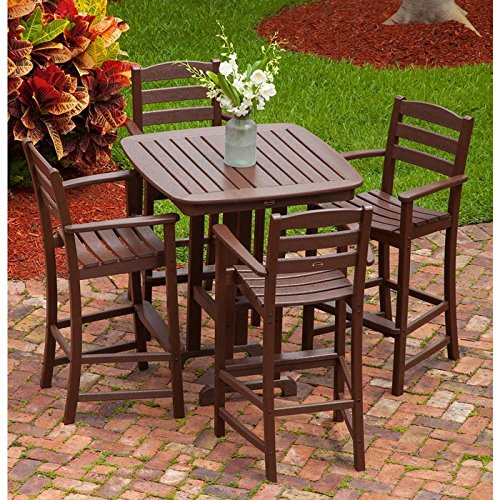 POLYWOOD La Casa Cafe 5-Piece Outdoor Bar Chair Set with Table White (Dining Kohls Table)