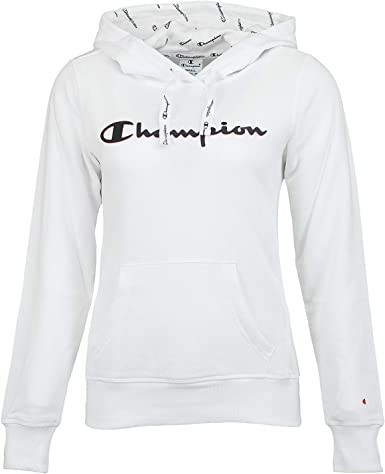 Champion Sweat à Capuche Femme Blanc X Large: Amazon