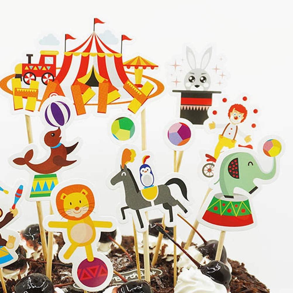 Amosfun 33 Unids Circus Cake Topper Payaso Magdalena Decoración ...
