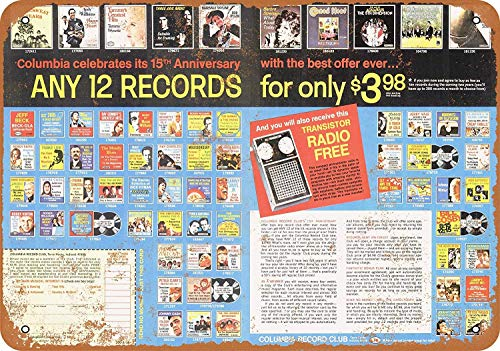(Bidesign 8 x 12 Metal Sign - Vintage Look 1970 Columbia Record Club)