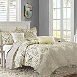 Madison Park Nisha King/Cal King Size Quilt Bedding Set - Taupe Yellow, Paisley – 6 Piece Bedding Quilt Coverlets – 100% Cotton Bed Quilts Quilted Coverlet