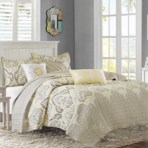Madison Park Nisha Full/Queen Size Quilt Bedding Set - Taupe Yellow, Paisley – 6 Piece Bedding Quilt Coverlets – 100% Cotton Bed Quilts Quilted Coverlet