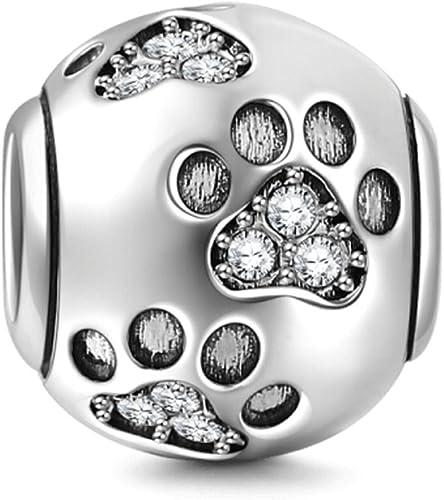 Abalorio huellas de perro con cristales en plata de ley 925