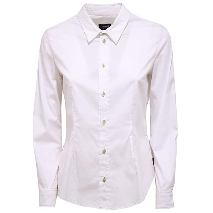 san francisco 99fda a04de ARMANI JEANS 2569X Camicia Donna Slim Fit White Cotton Shirt ...
