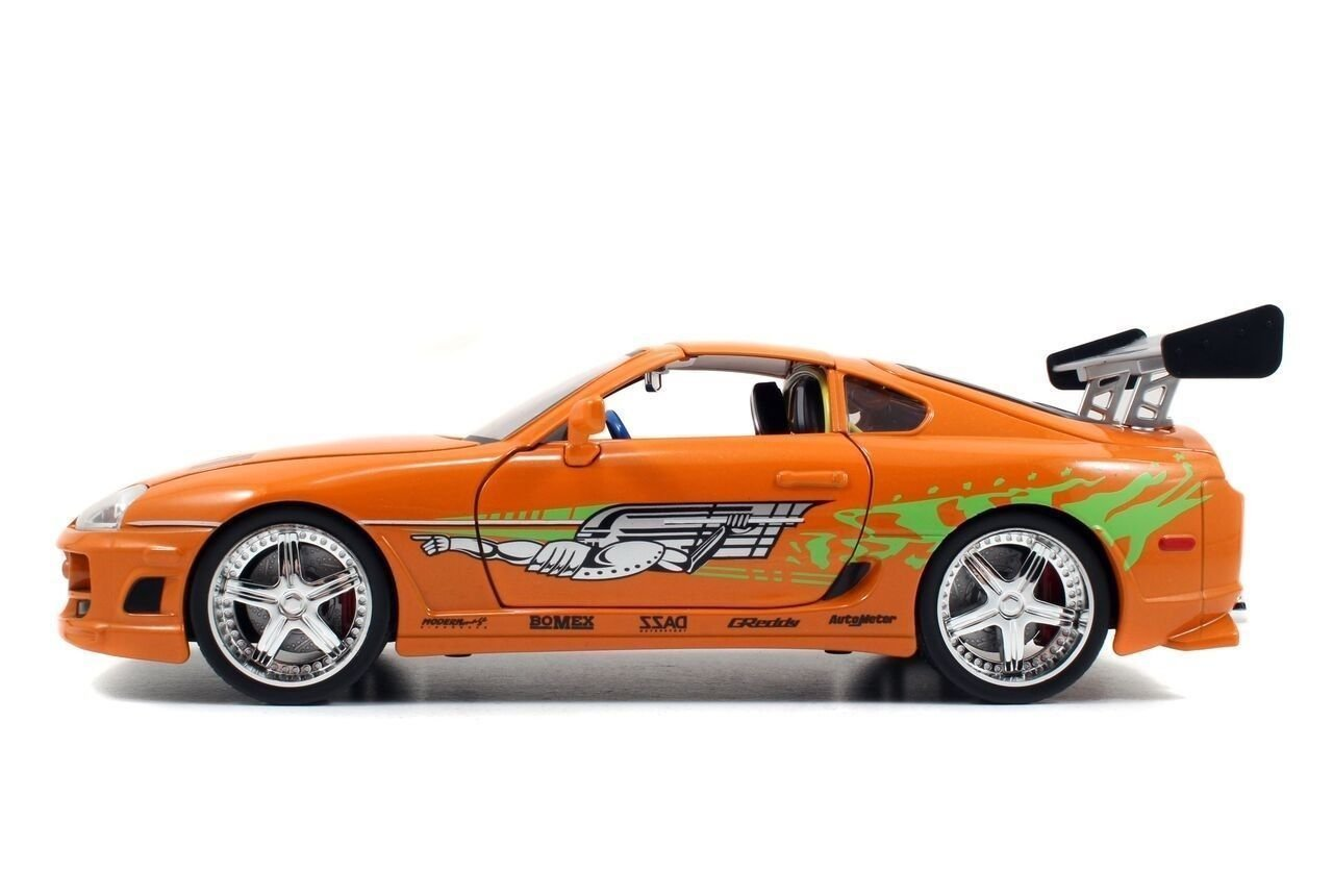 toyota supra fast and furious green. amazoncom new 118 fast u0026 furious 7 orange brianu0027s toyota supra with removable roof diecast model car by jada toys games toyota supra fast and furious green