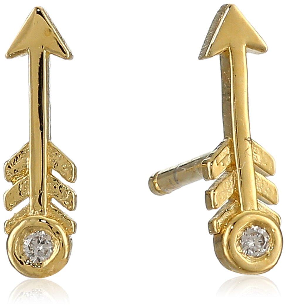 Shy by SE Arrow Stud Earrings with Diamond Bezel