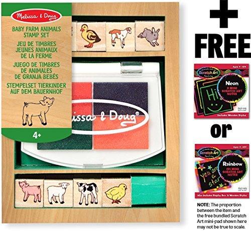 (Melissa & Doug Baby Farm Animals: Wooden Stamp Set + Free Scratch Art Mini-Pad Bundle [16391])
