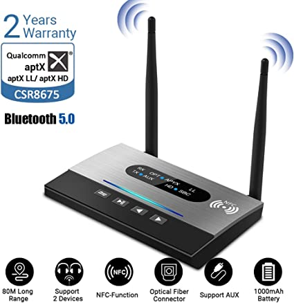 Bluetooth 5.0 Transmitter Receiver Audio Optical Wireless Adapter HD For Pc Ipod