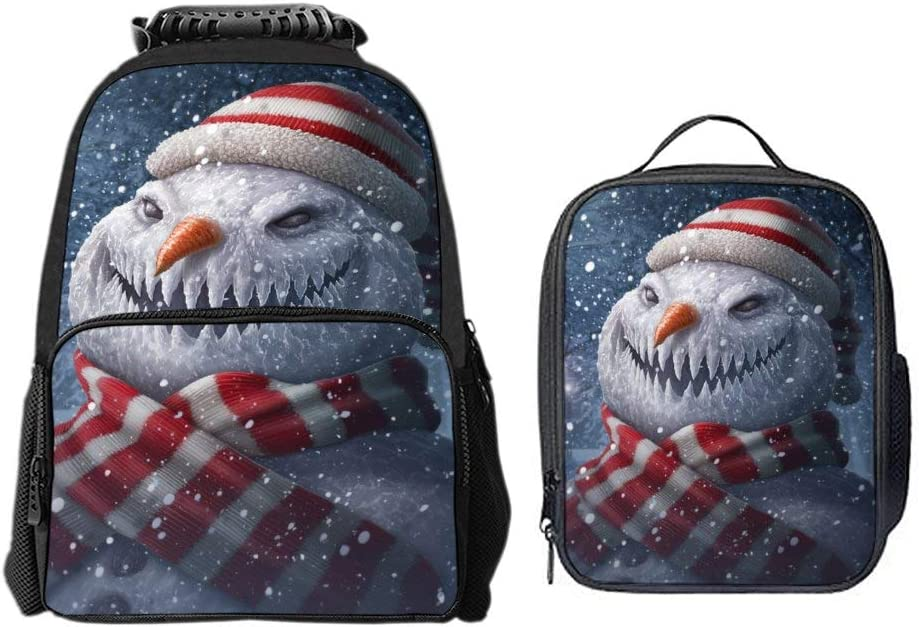 SARA NELL Boys Girls Students Christmas Winter Snowman Polyester School Backpack and Lunch Bag 2 Sets