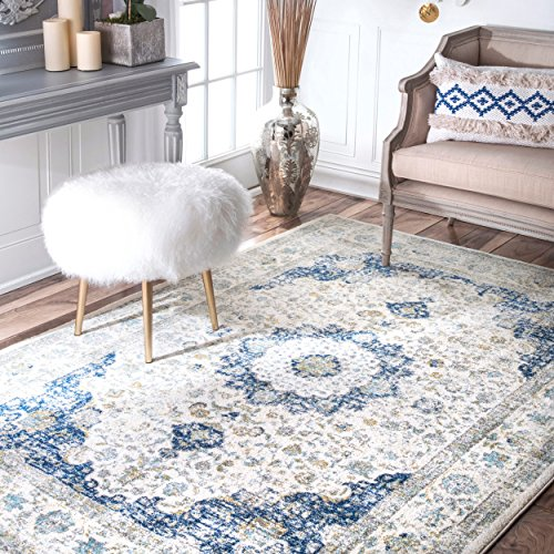 nuLOOM Persian Verona Distressed Area Rug, 8' x 10', Blue ()