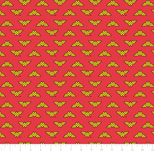 DC Comics Wonder Woman Logo in Red Premium Cotton Fabric by the Yard