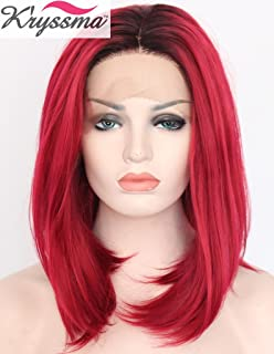 K ryssma Straight Ombre Red Bob Wigs Short Lace Front Wig for Women Ombre  BLack 4a661738d