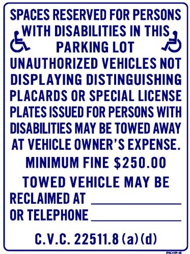 SPACES RESERVED FOR PERSONS WITH DISABILITIES IN THIS PARKING LOT 24