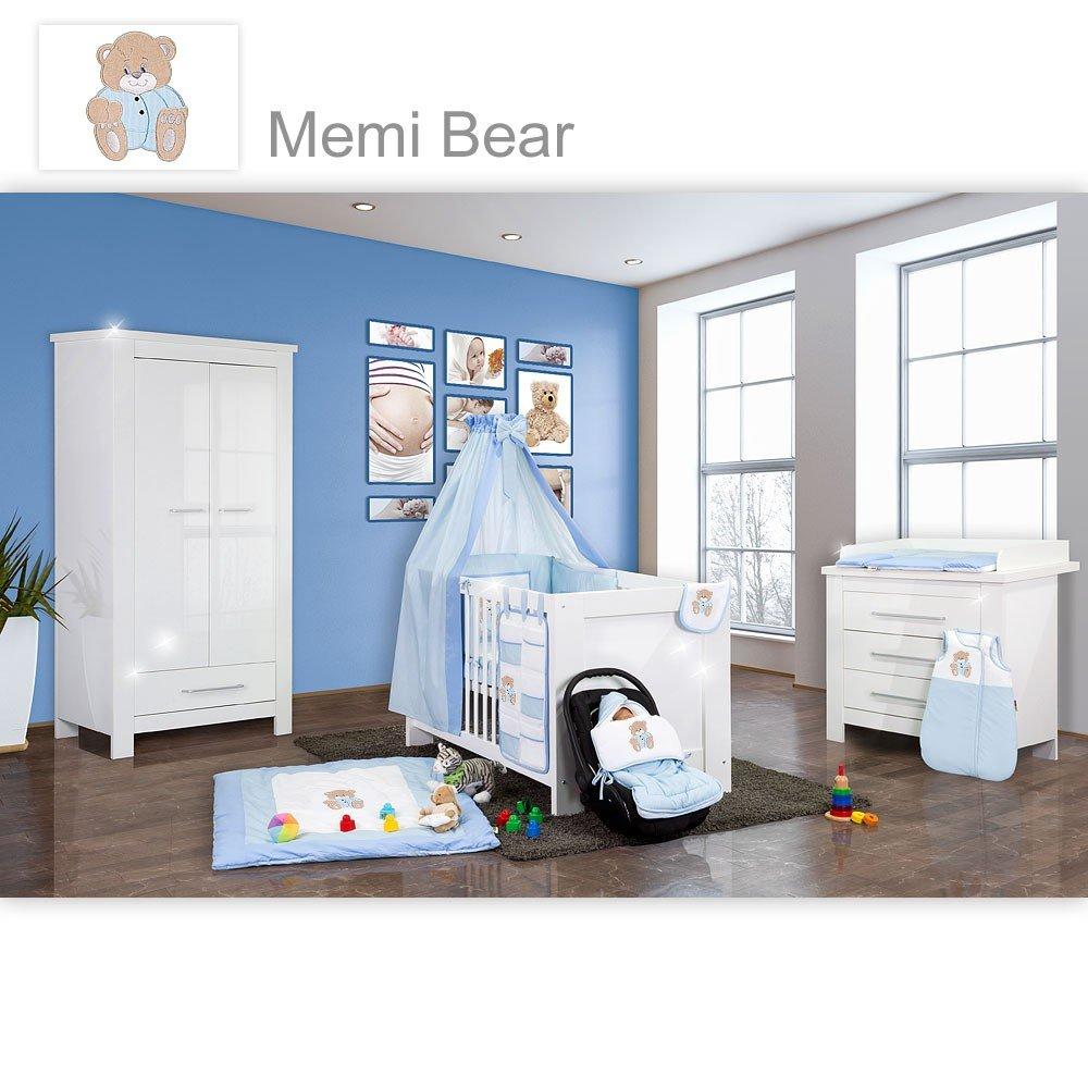Babyzimmer Enni Hochglanz 21-tlg. mit 2 türigem Kl. + Textilien Memi Bear, Blau
