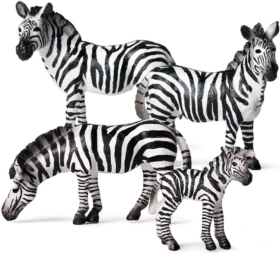 Zebra Figurine, Realistic Plastic Wild Zebra Figurine Set for Collection Science Educational Prop, Miniature Zebra Statue, Forest Style Home Decor Accessories or Cake Toppers Decoration, Pack of 4