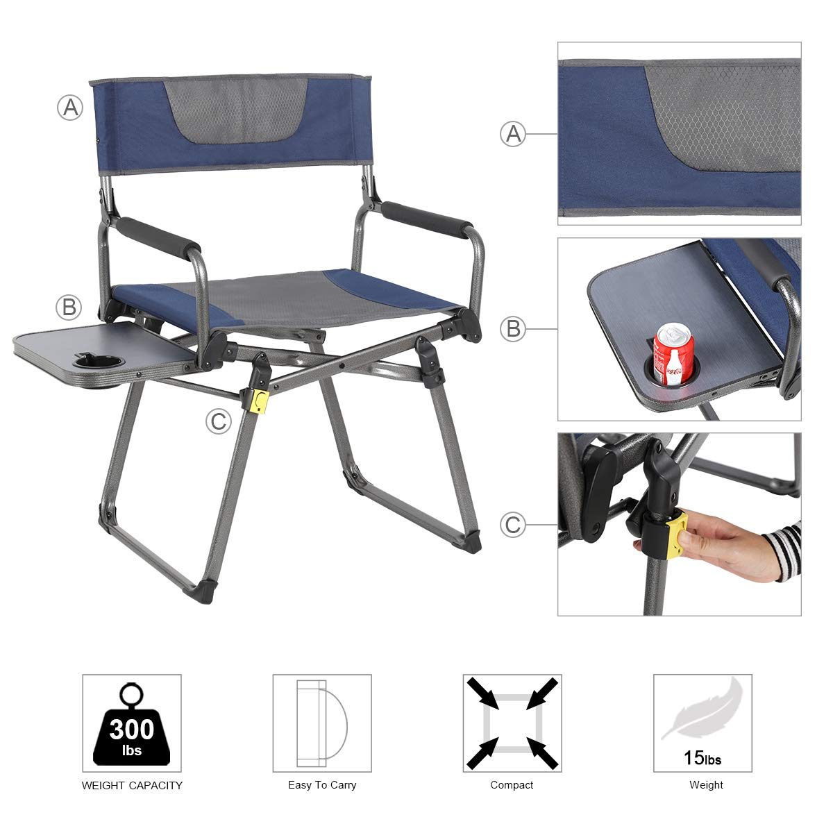 Amazon.com: Aluminio portable de la silla de director ...
