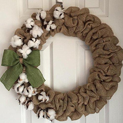 Amazon Burlap Cotton Wreath