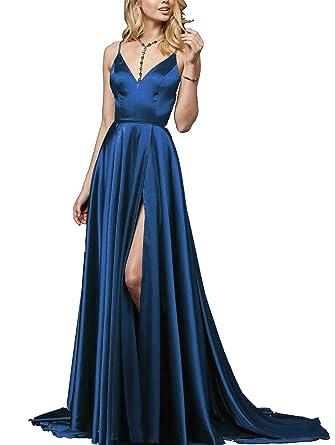 Nicefashion V Neck Spaghetti Strap A Line Satin Formal Prom Dress With Side Slit - Blue