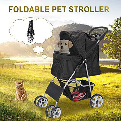 Foldable Pet Dog Stroller for Cats and Dog Four Wheels Carrier Strolling Cart with Weather Cover, Storage Basket Cup Holder