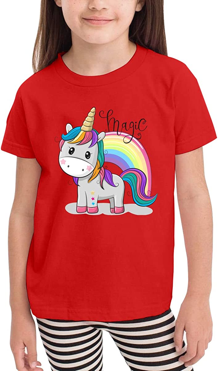 Rainbow Unicorn Girls Cotton Short-Sleeved T-Shirt Cartoon Cute Funny
