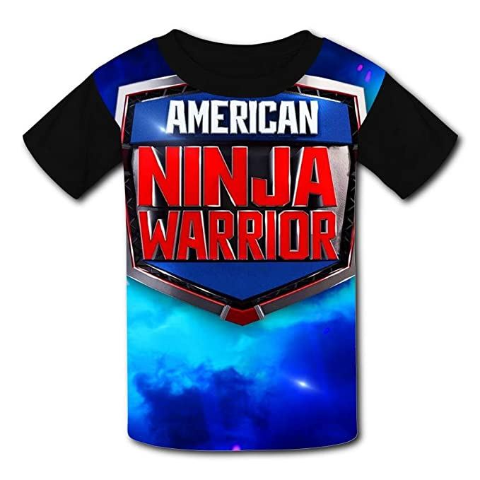 T-Shirt Short Sleeve Kids Tee Shirt Black American Ninja Warrior Sport 2018 for Girls Boys