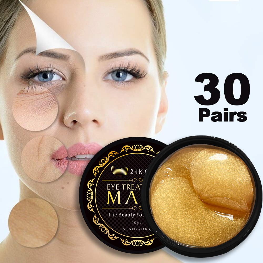 24K Gold Eye Mask Under Eye Pads Under Eye Bag Collagen Eye Treatment Masks for Anti Aging, Under Eye Mask Patches for Dark Circles & Puffiness Anti Wrinkle, Moisturising, Whitening - 60pcs by ROMOSS