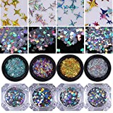 NICOLE DIARY 8 Boxes Holographic Laser Nail Glitter Sequins Heart Four Angle Star Rhombus Round Flakes Colorful Confetti Paillette Manicure Nail Art Decoration