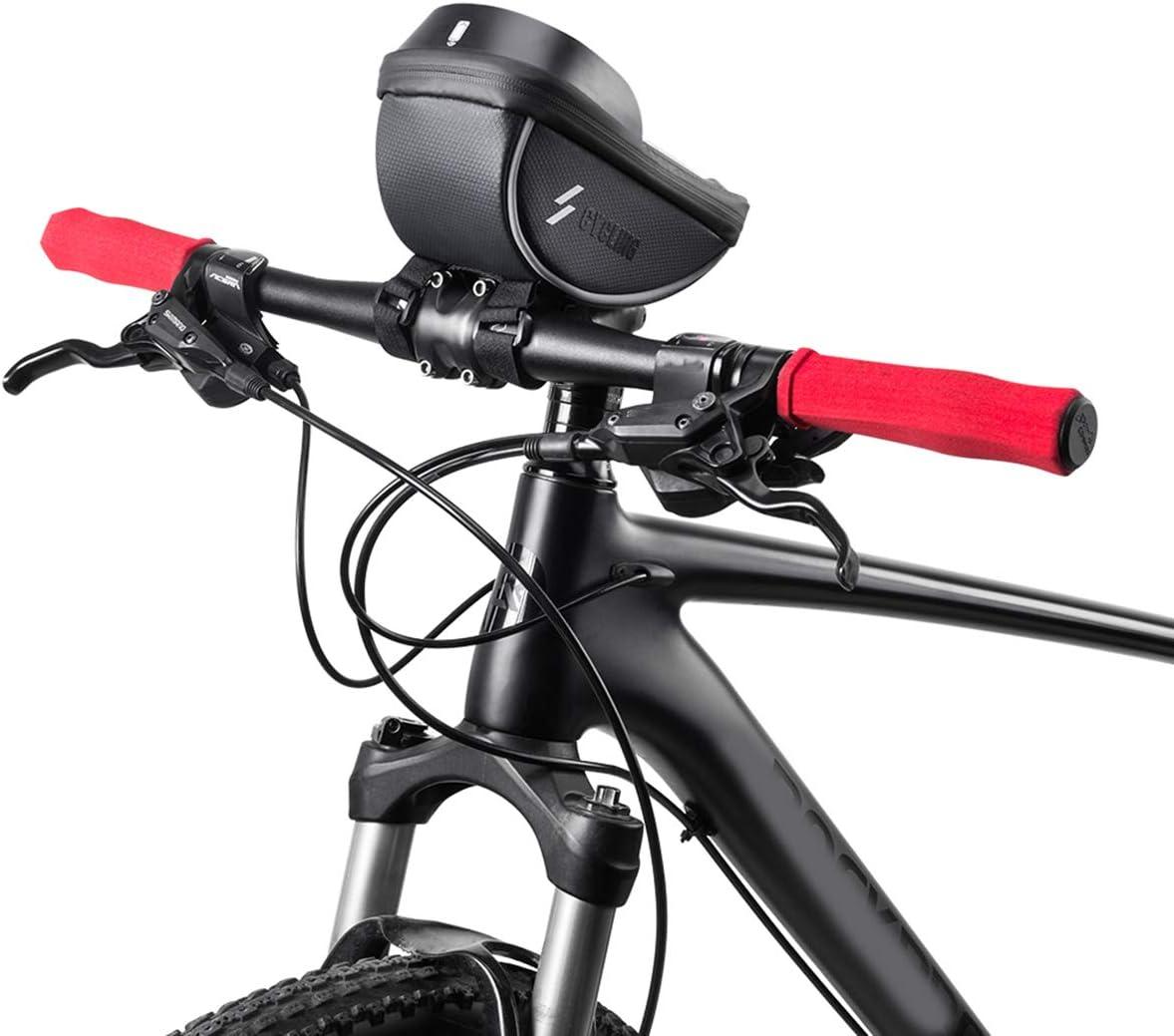 color negro Bolsa de soporte para tel/éfono de bicicleta Rehomy impermeable, gran capacidad, marco delantero