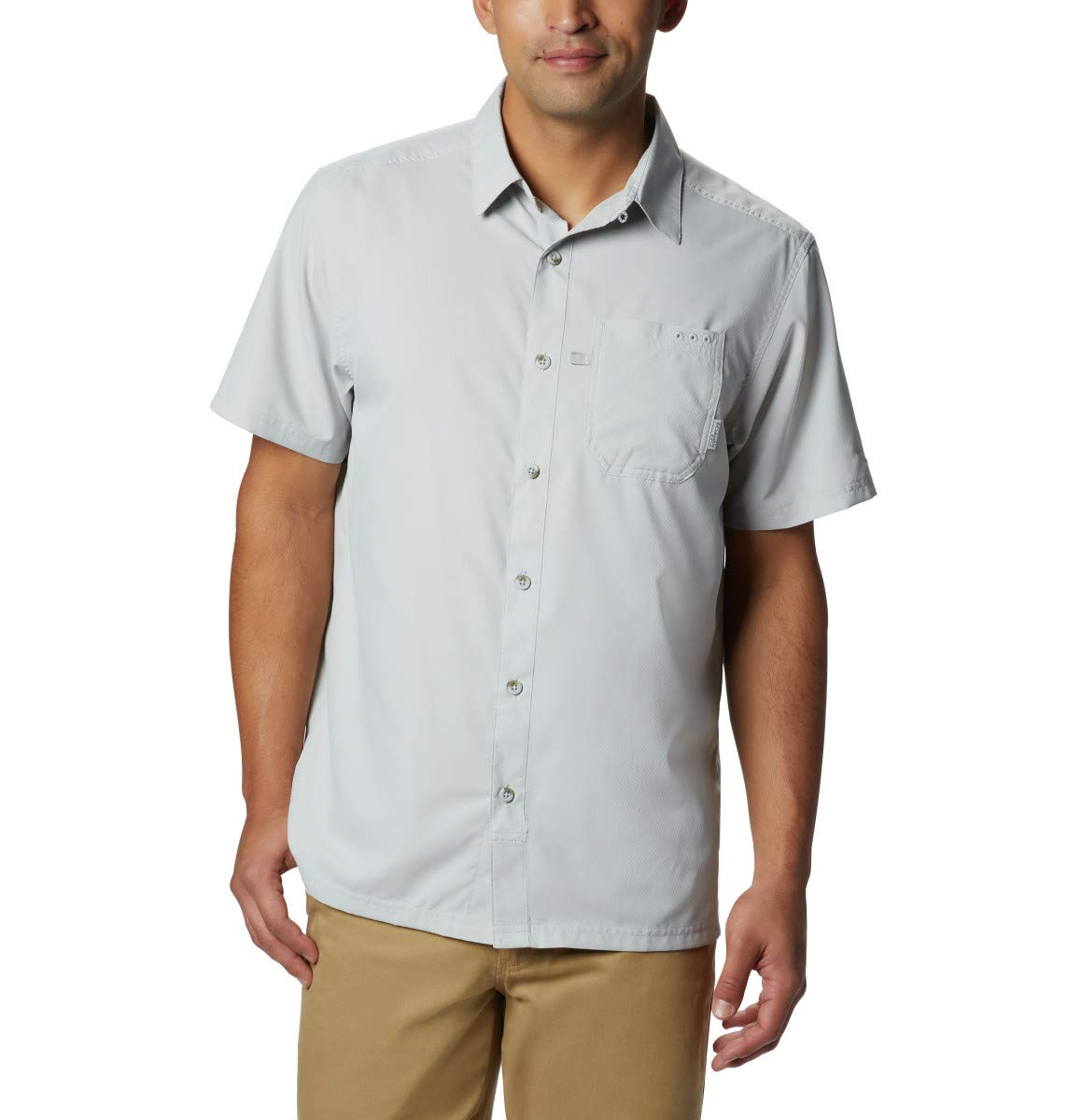 Columbia Standard Men's Slack Tide Camp Shirt, Moisture Wicking, Cool Grey, Small by Columbia