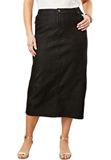 5e799bbe8da Woman Within Plus Size Smooth Waist A-Line Denim Skirt at Amazon ...