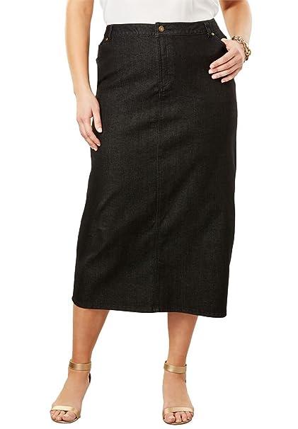 09b4b151fd Jessica London Women s Plus Size True Fit Denim Maxi Skirt - Black Denim
