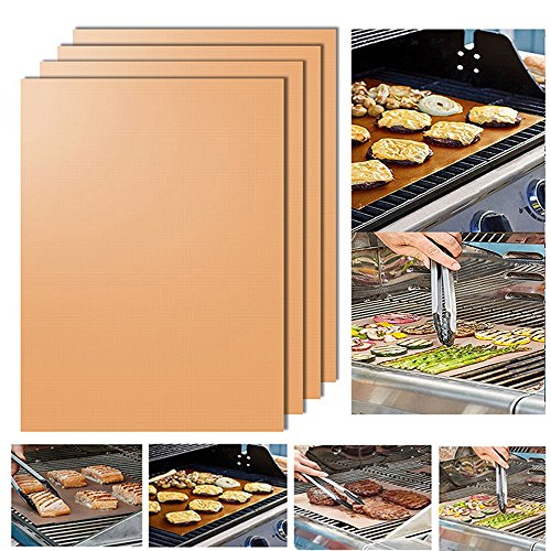 Grill Mat Set of 4- 100% Non-stick BBQ Grill & Baking Mats - Heavy Duty, Reusable, and Easy to Clean FDA-Approved, PFOA Free,Works on Gas, Charcoal, Electric Grill, - 13 X 15.75 Inches (Golden)