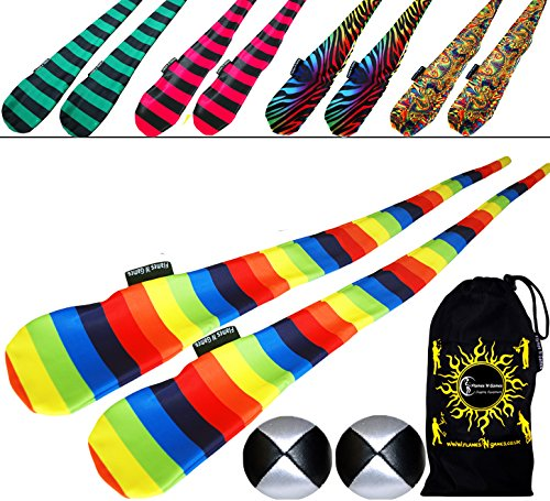 FUNKY Sock Poi Set (5 Designs) Pro Poi Spinning Socks AKA Tube Poi + 2x Balls & Travel Bag. (Aurora)