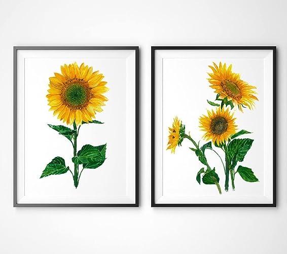 Sunflower Art #A050   Set Of 2 Prints(8x10).Sunflower Wall Art Part 33
