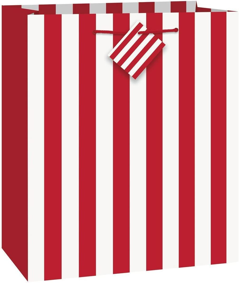 red and white striped gift bags