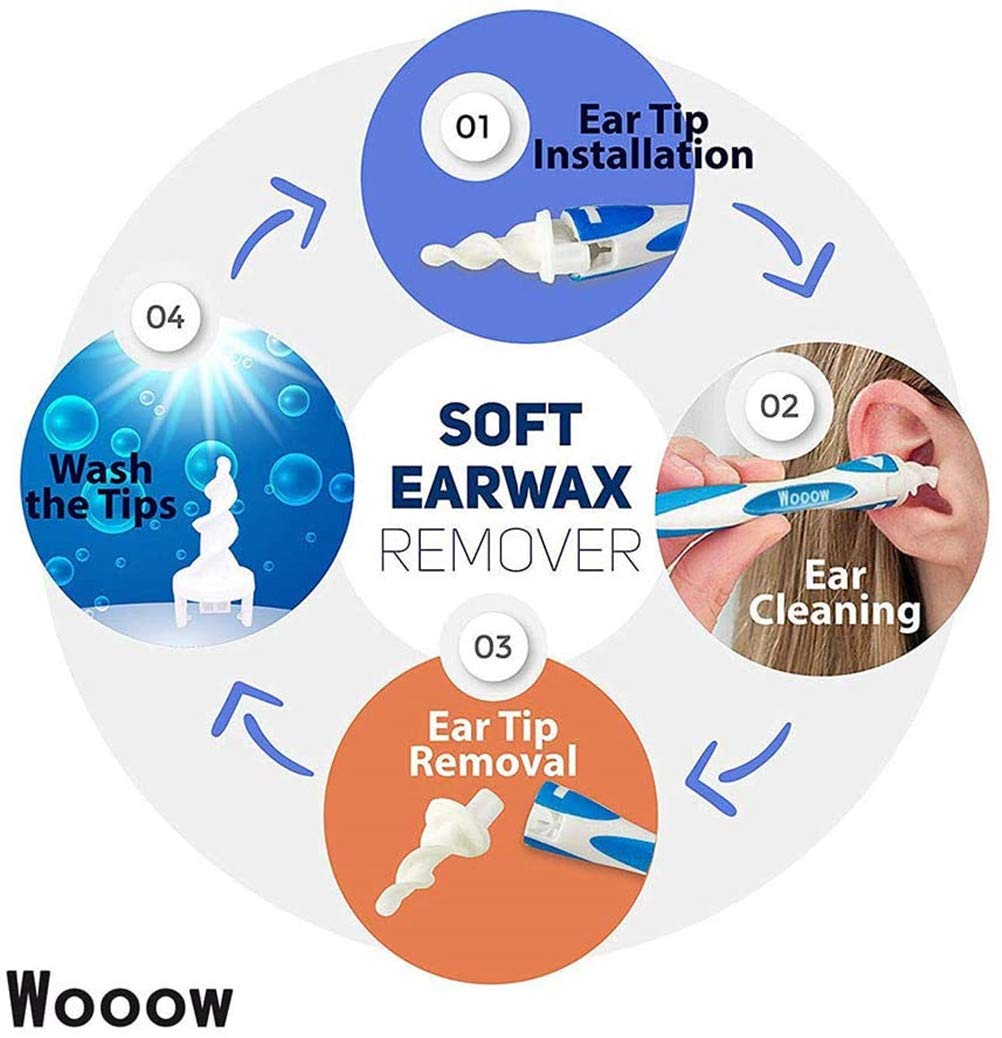 Ear Cleaner Tool Kit Ear Wax Remover,Smart Spiral Earwax Removal Tool with 16 pcs Washable Tips Safe and Soft Suitable for Kids /& Adults