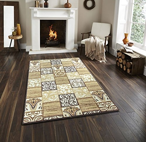 Bandelini Napoli Collection Patchwork Contemporary Oriental Square Design Rubber-Backed Non-Slip Non-Skid Easy Clean Area Rugs Mat, Indoor/ Outdoor Kitchen Hallway Entry Gold Brown Runner Rug 20