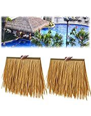 Decorative Thatch Tile Fake Straw,Pe Material So Not Perishable,No Maintenance is Easier,for Tiki Bar Gardens Patio Deck Mgazebos Wall(Size:6pcs,Color:Yellow)