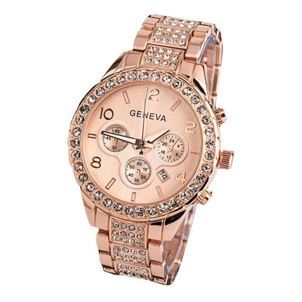 Dressin Women Geneva Watch,Luxury Iced Out Pave Floating Quartz Calendar Rose Gold Stainless Steel Watch,Crystal Rhinestone chronograph Watch With Metal Link Band (Rose Gold) by Dressin