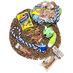 Distinctive Designs Deluxe Dog Gift Basket of Biscuits, Buffalo Bone, Chewy Dog Treats, Denta-Bone, Plush Squeaky Toy & Rope Ball Toy