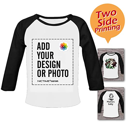 d06b1173e7d NICTIME Custom Long Sleeve Tshirt For Baby Boy Design Your Own Front And  Back Organic Cotton. Roll over image to ...