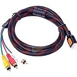Foxnovo® 5 Feet HDMI Male to 3RCA 3 RCA Video Audio AV Cable
