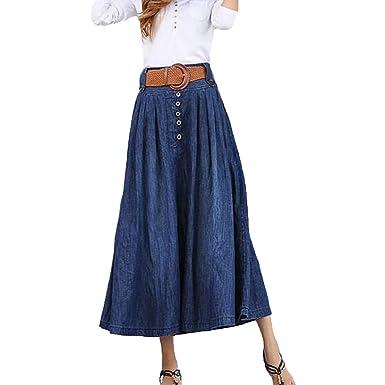 bee4ea0519815d Mode Été Cowboy Longue Jupe Plissée Pour Femmes Lady Élastique ...