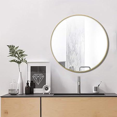 Specchio Design Moderno Camera Da Letto.Nugoo Specchio Da Parete Rotondo Con Cornice In Metallo Dorato