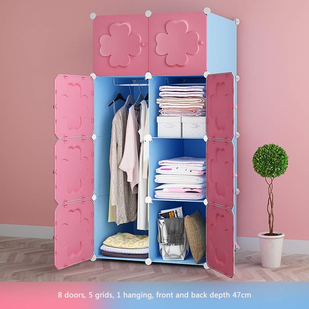 Clothes Closet Wardrobe Portable Wardrobe Closet Modular Storage Organizer Space Saving Armoire Deeper Cube with Hanging Rod 8 Doors (Size : A)