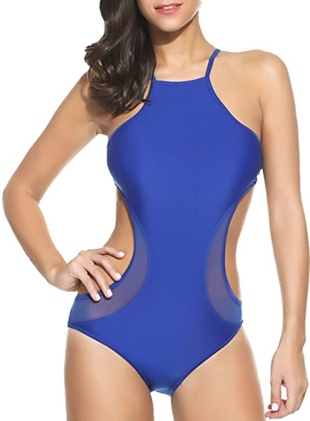 fd1712a32f0 POGTMM Women s Backless Push up Padded Bikini Sexy Monokini Cut Out  Swimwear One Piece