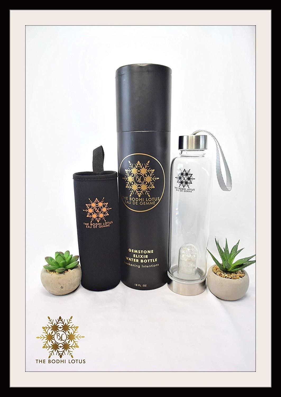 The Bodhi Lotus EAU DE GEMME Clear Quartz Carnelian Gemstone Water Bottle Elixir 18 Oz Crystal Water Bottle Sports Crystal Clear Water Bottle With Carnelian