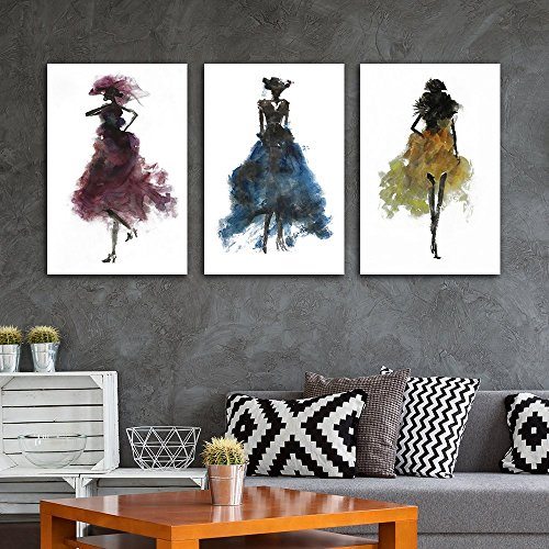 wall26-3 Piece Canvas Wall Art - Fashion Ladies Modern Woman Concept - Watercolor Painting Style Minimalism Art Reproduction - 24