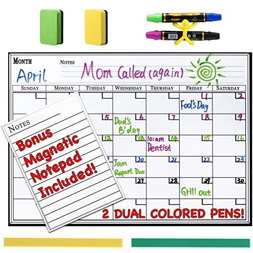 Magnetic Erase Monthly Calendar Refrigerator